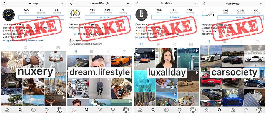 fałszywe konto na instagramie